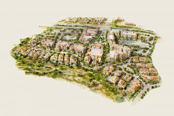 Artist rendering of a housing development